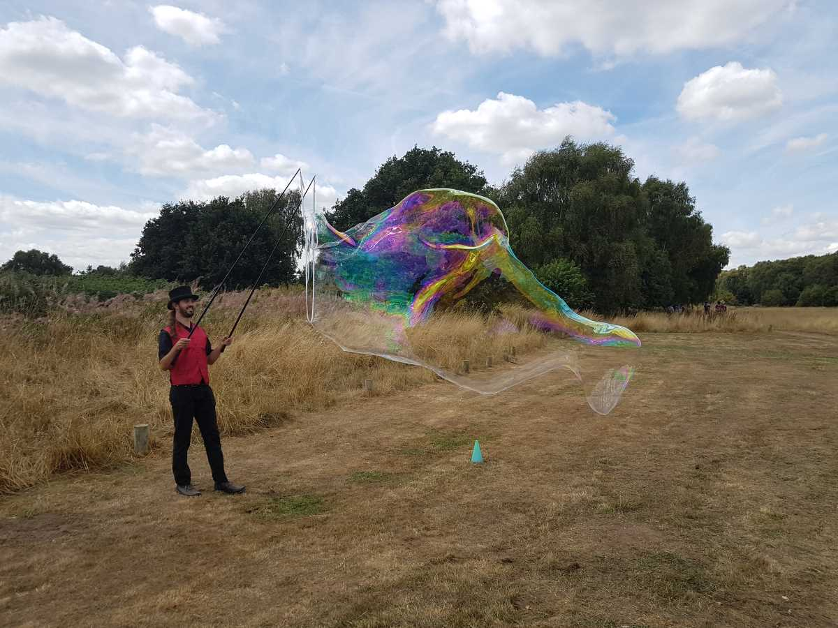 Giant Bubbles Bubleologist from Circus Wunderbar at Sherwood Heath