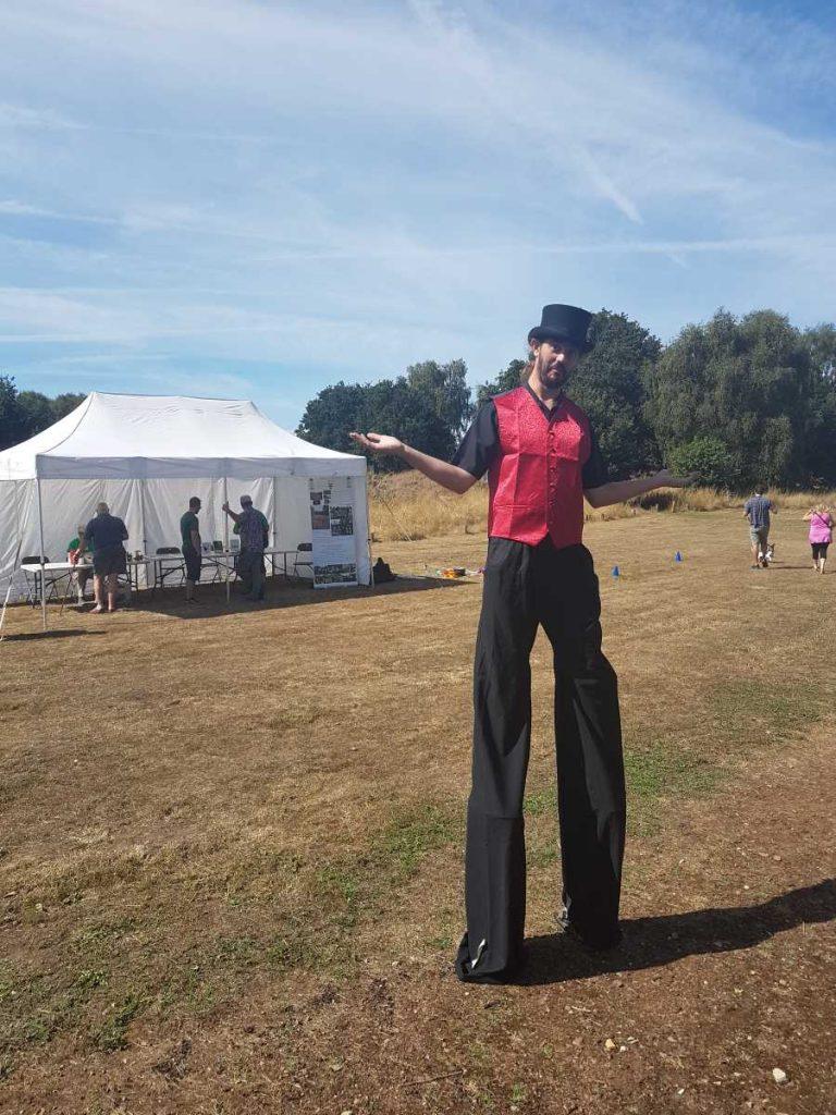 Stilt Walker from Circus Wunderbar on Sherwood Heath Open day
